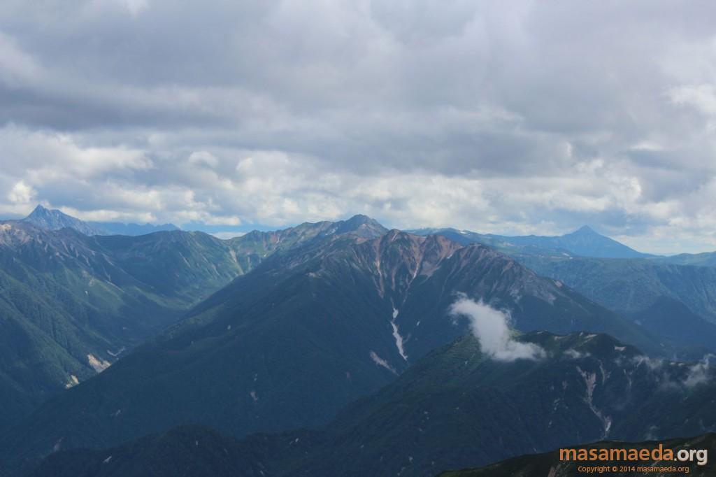 槍ヶ岳、真砂岳、水晶岳、赤牛岳、笠ヶ岳