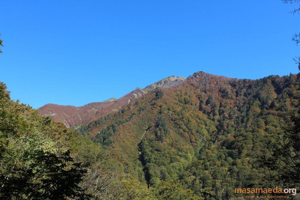 よく目立つ三山、左から笠ヶ岳、朝日岳、白毛門