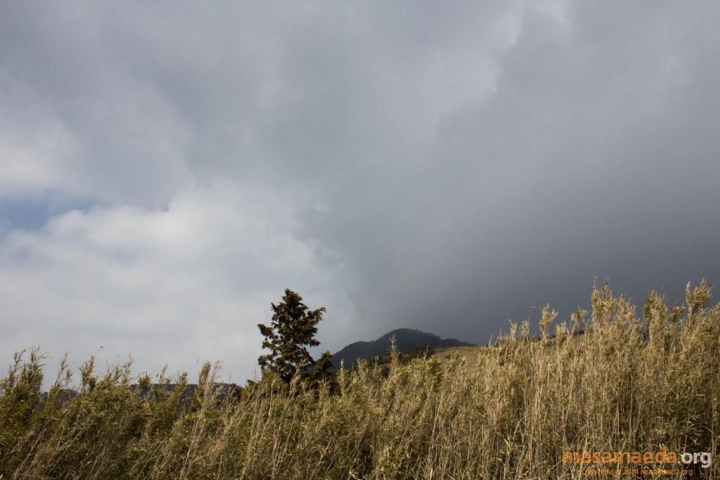 晴れと曇りを金時山が切り裂く